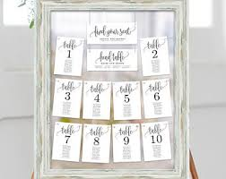 wedding seat chart template seating chart etsy