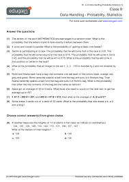 year 9 math worksheets and problems data handling probability