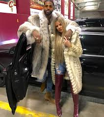 spotted tristan thompson post game in fur coat and saint laurent