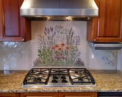 kitchen mural backsplash flowering herb garden custom painted kitchen backsplash tile mural