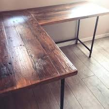 Industrial L Shaped Desk Reclaimed Wood Dining Table L Shaped Desk Pipe Legs Industrial Diy