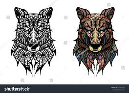 handdrawn wolf head ethnic doodle pattern stock vector 541202953