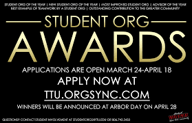 ttu student involvement annually the center for campus life invites all students faculty and staff to submit nominations for the student organization recognition awards