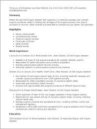 Example Of Dental Assistant Resume by Oral Surgery Assistant Resume Example Surgical Assistant Resume