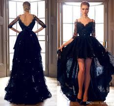 2016 cheap hi lo prom dresses black short lace vestidos sheer