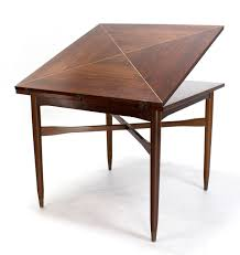 Expandable Game Table | walnut top with brass inlay mid century modern expandable game