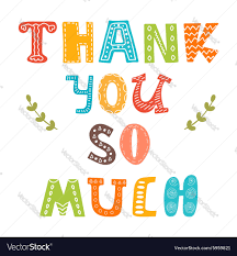 thank you so much greeting card royalty free vector