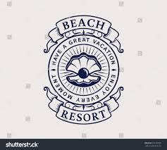 beach resort logo seashell elegant vintage stock vector 657797098