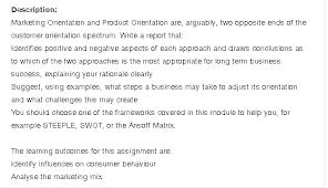 Marketing Reports Exles by Description Marketing Orientation And Product Ori Chegg Com