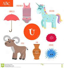 letter u cartoon alphabet for children unicorn umbrella urn