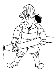 firefighter clipart outline pencil color firefighter