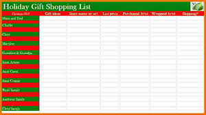 christmas gift list 5 christmas gift list template itinerary template sle