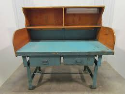industrial work bench ebay vintage industrial heavy duty workbench desk butcher block table cast iron legs