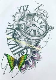 clock butterfly mandala design by tattoosuzette on deviantart