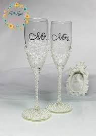 wedding glasses personalized wedding chagne glasses in ivory white