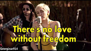 miley cyrus no freedom backyard sessions lyrics on screen