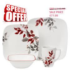 Corelle Dishes Ebay Corelle Square 16pcs Dinnerware Dinner Service Set Plates Cups