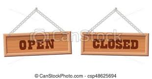 open closed store sign wooden boards open and sign eps