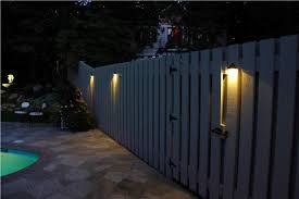 outdoor fence lighting ideas fascinating outdoor slat wooden fence with magnificient lighting
