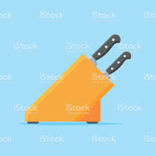 set of kitchen knives with wooden stand flat style vector