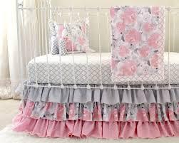 Pink Floral Crib Bedding Pink Gray Crib Bedding Watercolor Floral Baby Bedding Grey