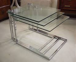 glass nesting coffee tables 2074 set of 3 chrome and glass nesting tables coffee table tables