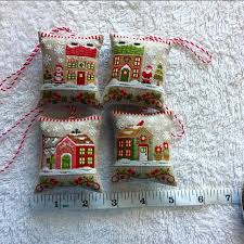 Country Cottage Cross Stitch Santa U0027s Village Stitched On 35 Count Linen Over One Country