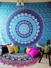 blue elephant bohemian bedroom decor hippie tapestry room