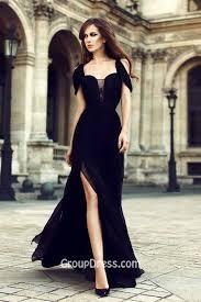 black chiffon fashion side slit evening formal dress