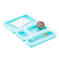 desk drawer organizer tray clear aqua drawer organizer trays the container store storage