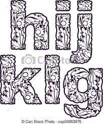vectors illustration of retro ornamental typeface beautiful