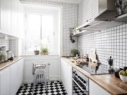 kitchen style butcher block countertop checkered ceramic tile