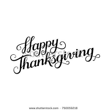 happy thanksgiving brush lettering isolated stock vector
