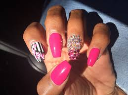 i loved these style nails coffin with pink opi polish pink