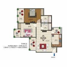 2bhk Plan by Floor Plan Amaatra Homes Noida Extension Greater Noida West