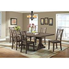 7 pc dining room set flynn 7pc dining set table and 6 wooden side chairs walnut brown