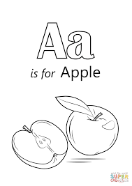 letter a is for apple coloring page free printable coloring pages