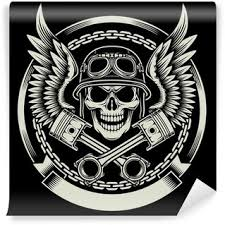 vintage biker skull with wings and pistons emblem canvas print