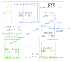 free 500 square feet 3 bed room single floor plan