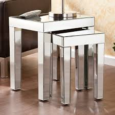 mirrored end table set southern enterprises mirrored 2 piece nesting accent table set