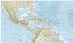 A Map Of The Caribbean by Central America Caribbean Physical Classroom Map From Academia