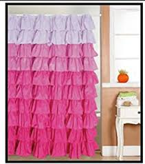 Ruffled Shower Curtain Amazon Com Lavish Home Spring Ruffle Shower Curtain With