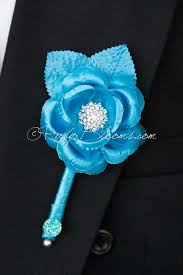blue boutonniere turquoise blue flower wedding boutonniere by ruby blooms