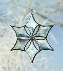 3d clear beveled glass snowflake ornament with silver lines