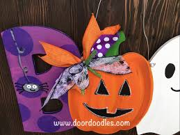 boo halloween door hanger with spider pumpkin jack o lantern