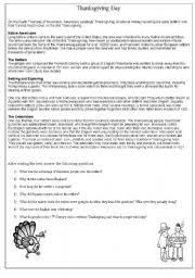 english teaching worksheets thanksgiving day