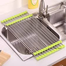 over the sink dish drying rack 3 colors kitchen roll up dish drying rack over the sink stainless