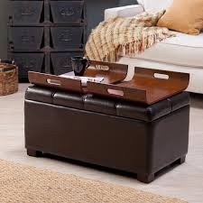 faux leather storage bench coffee table 2 side ottomans brown