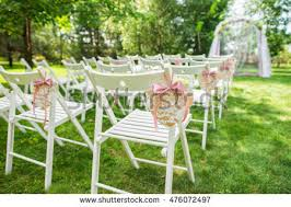 Wooden Wedding Chairs Beautiful Place Outside Wedding Ceremony City Stock Photo