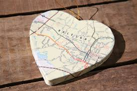 raleigh durham north carolina vintage map covered heart